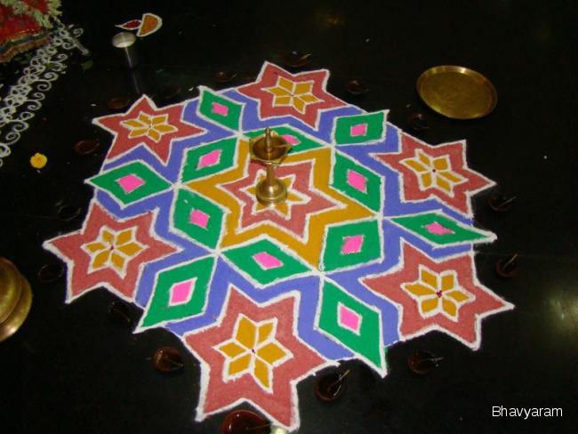 12 dotted kolam by bhavyaram