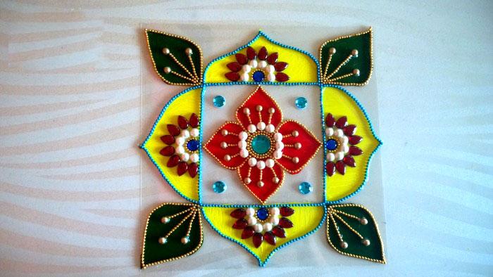 14 kundan acrylic rangoli design