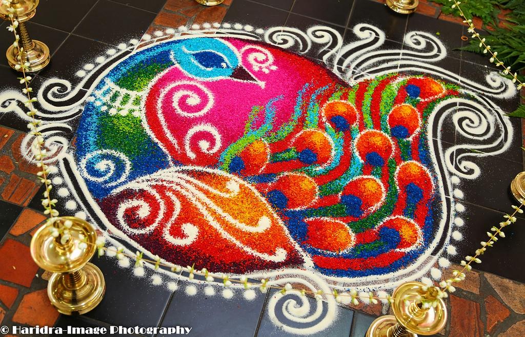 peacock rangoli design haridra -  14