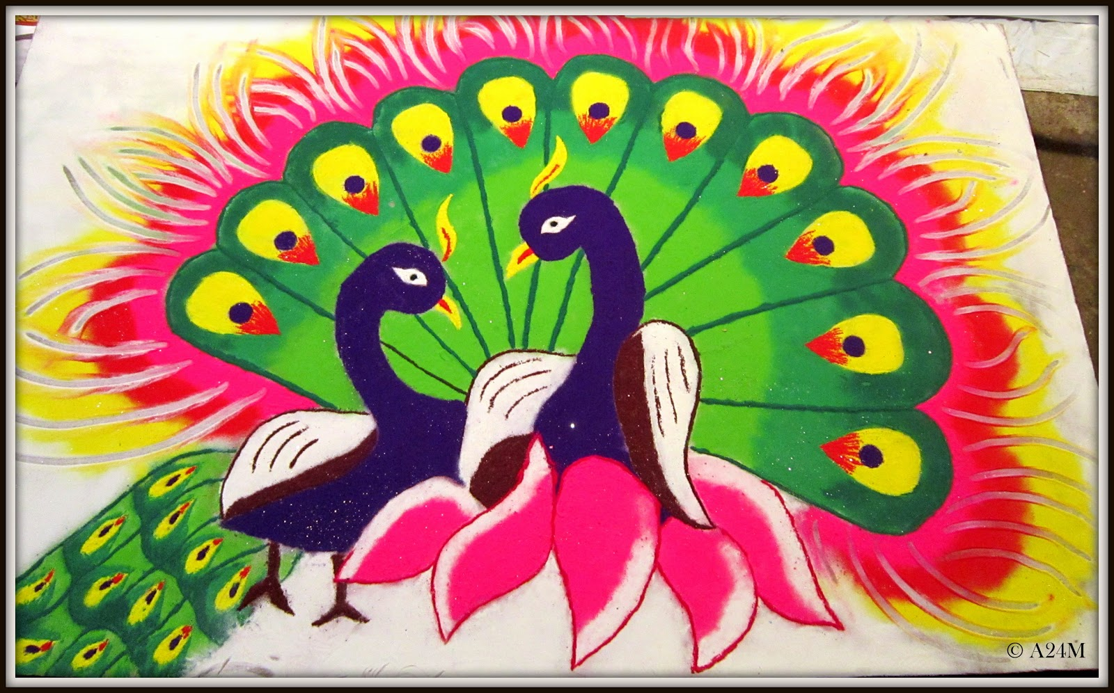 2 peacock rangoli