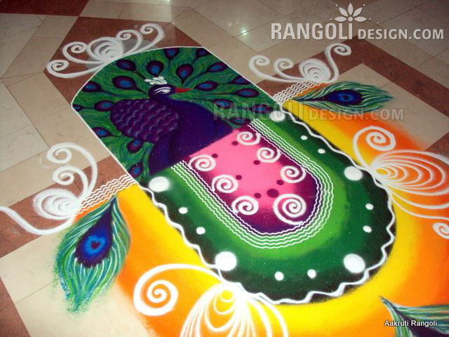 peacock rangoli design by aakruti -  26