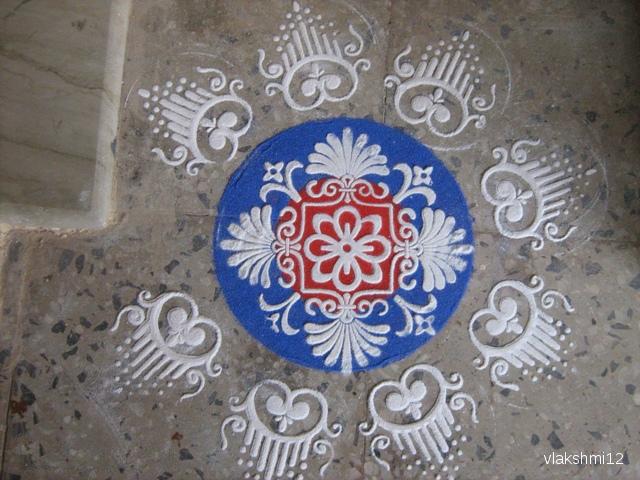3 stencil rangoli design by vklakshmi