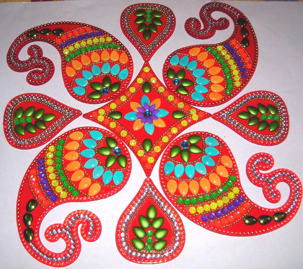 4 acrylic rangoli design