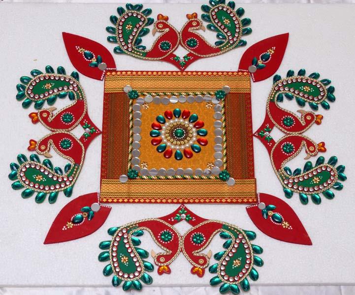 4 floor wooden rangoli design by shreeji