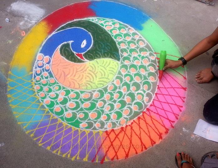 6 peacock rangoli