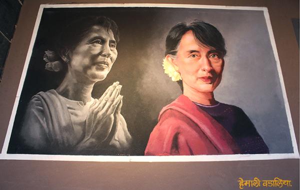 portrait rangoli design byhemaili vadaliya -  6