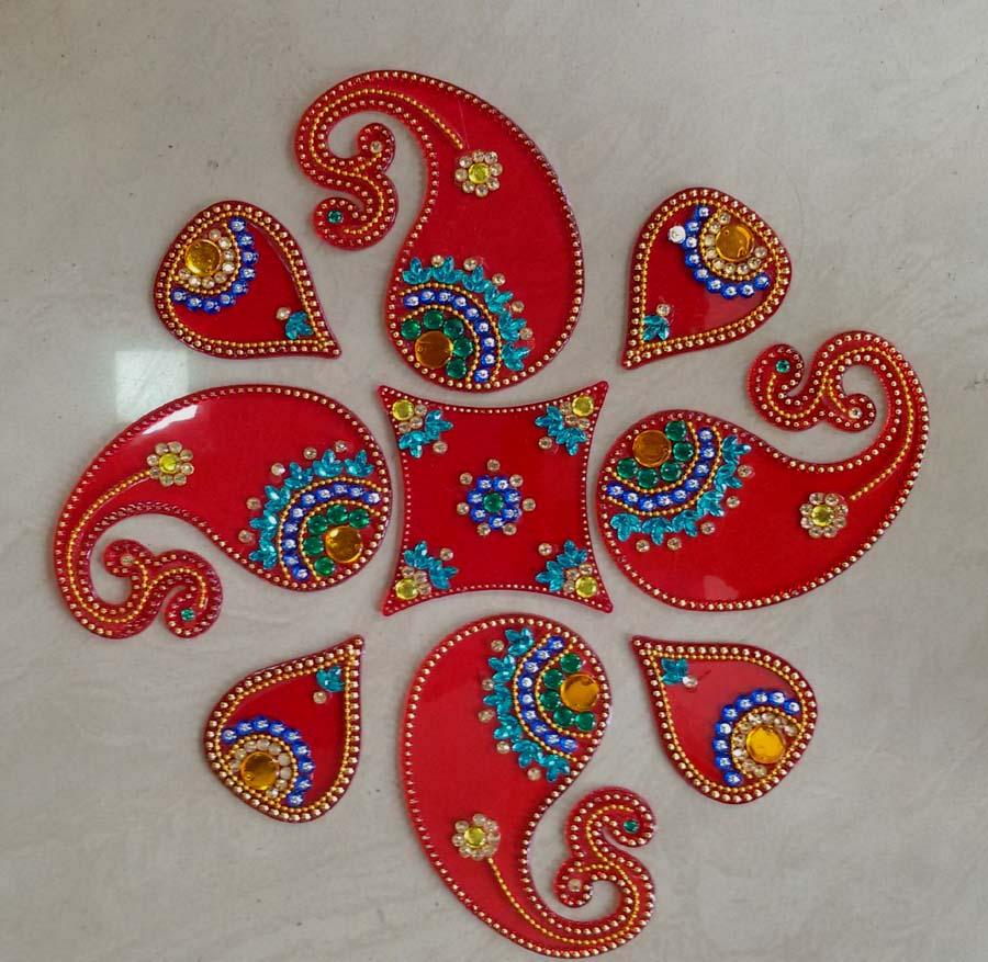 7 acrylic rangoli design