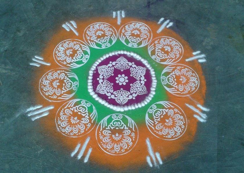 7 stencil rangoli design