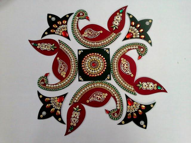 8 acrylic rangoli design