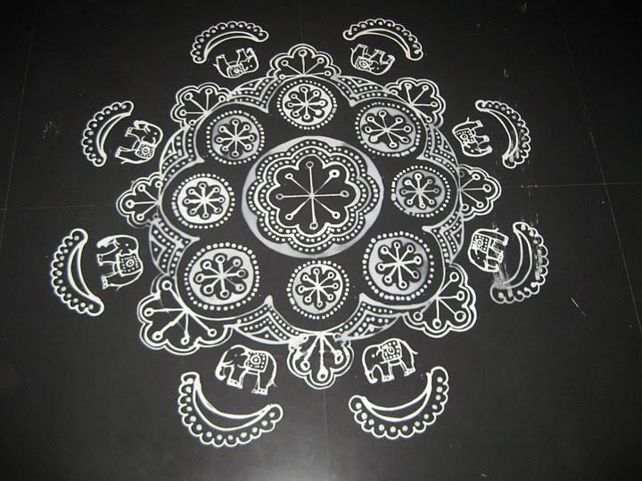8 elephant ganesh festival rangoli design