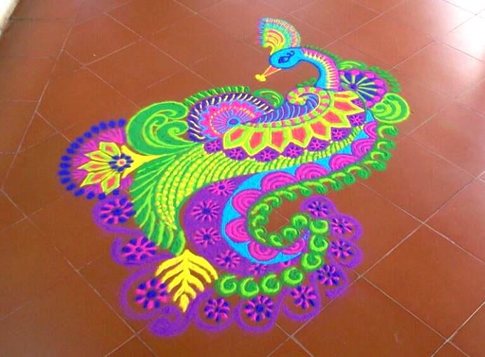 peacock freehand rangoli design by mash -  9