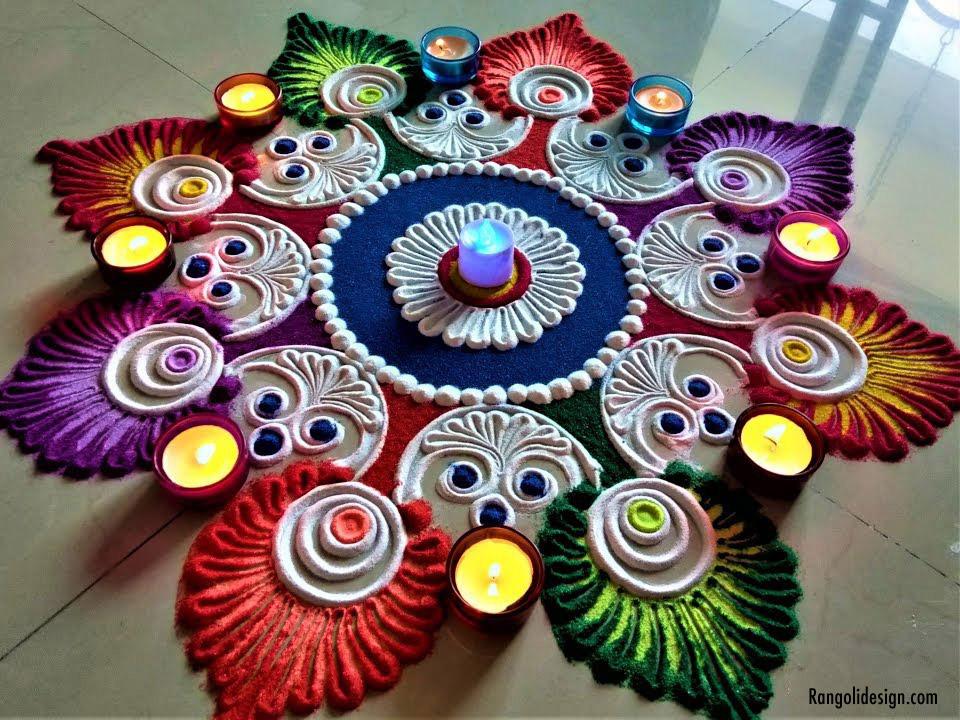 1 colourful floral rangoli design for holi