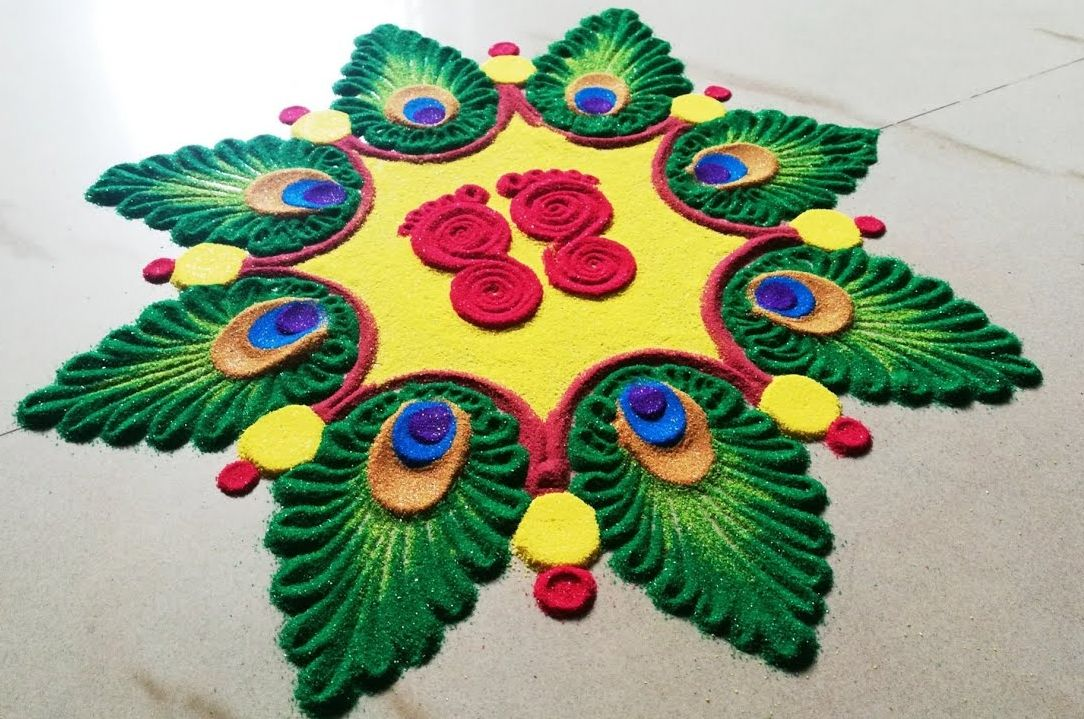 19 krishna jayanthi rangoli design krishnar feather by krish