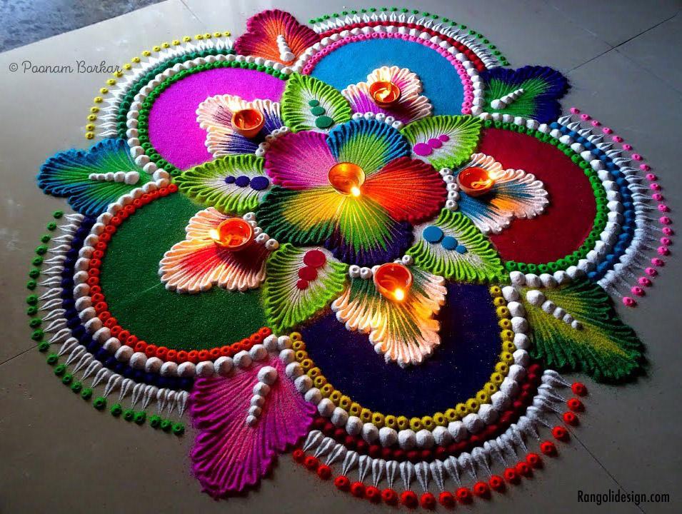 2 leaf rangoli design for holi festival
