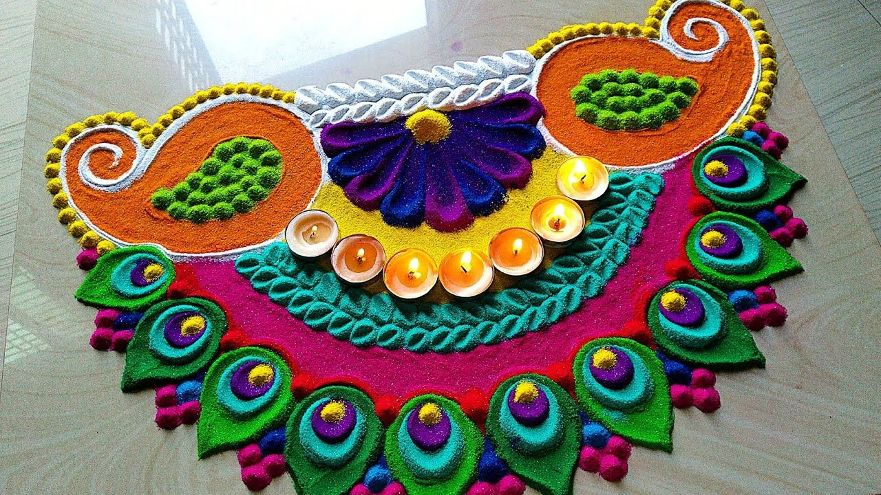 20 krishna jayanthi rangoli design krishna feather by vishal