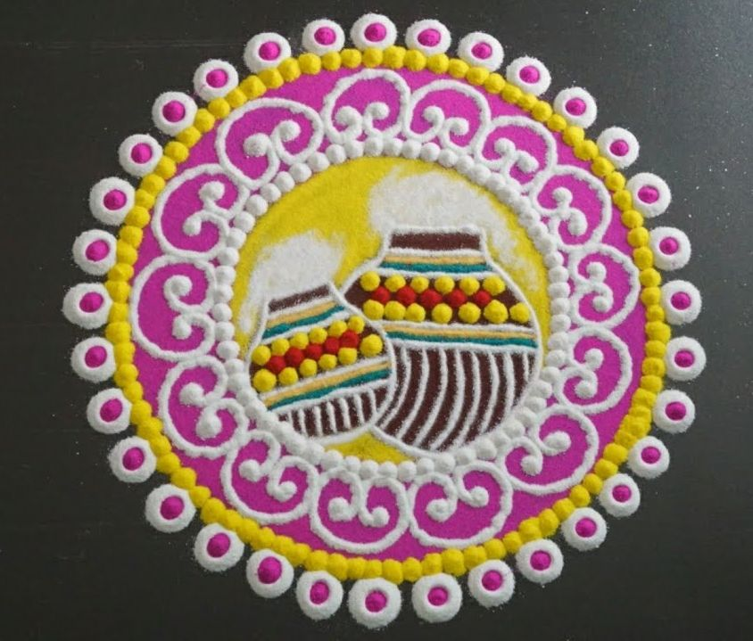 21 krishna jayanti rangoli design colour butter pot by keerthi