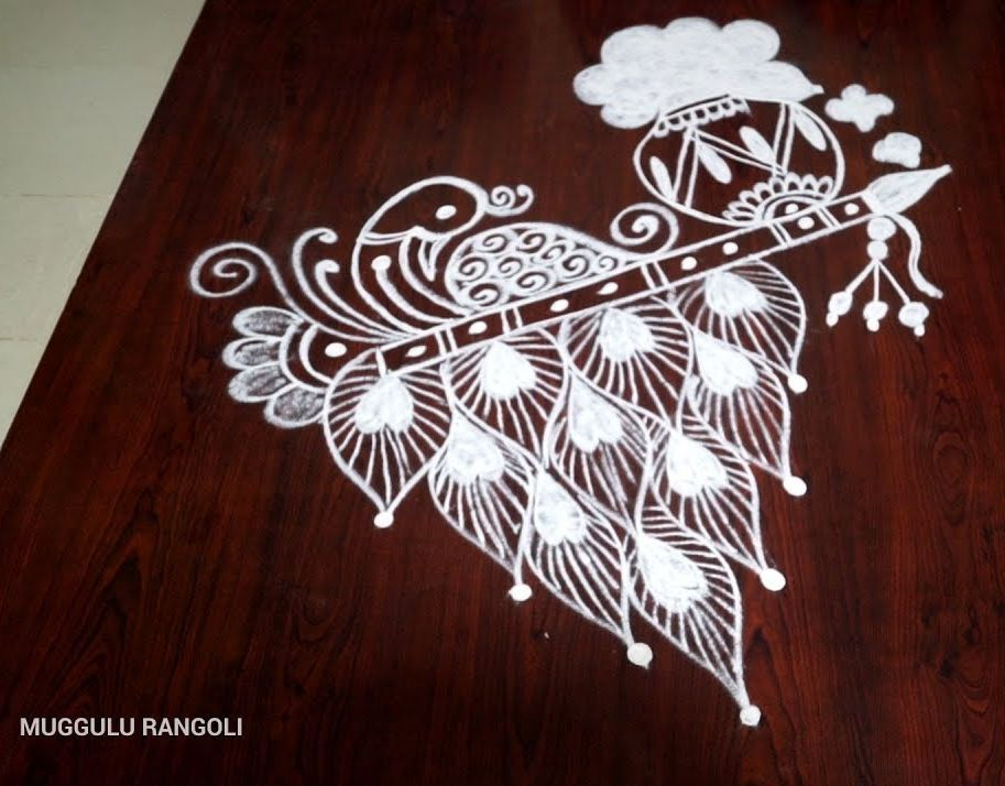 22 krishna jayanthy rangoli design balmy peacock by muggulu