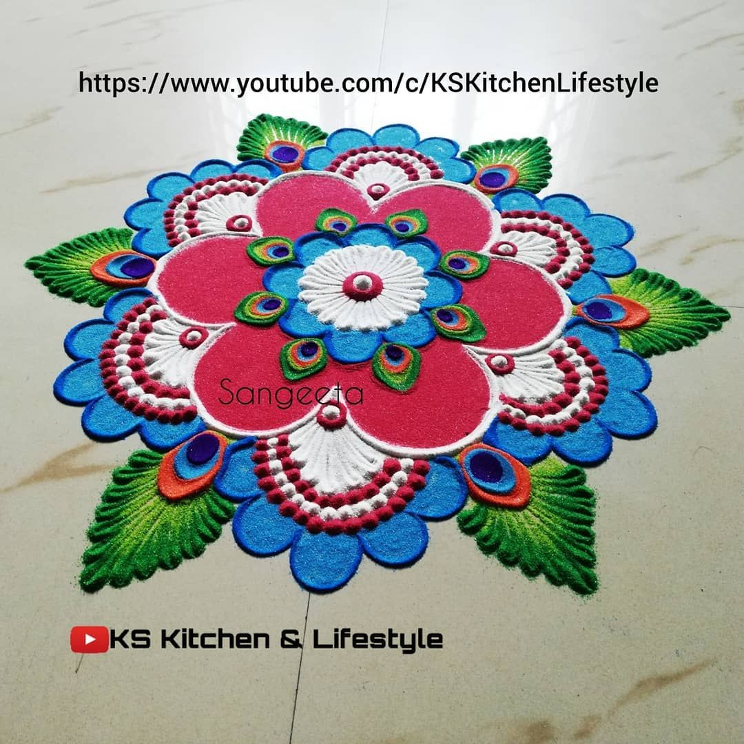 24 krishna jayanthi rangoli design feather by sangeeta