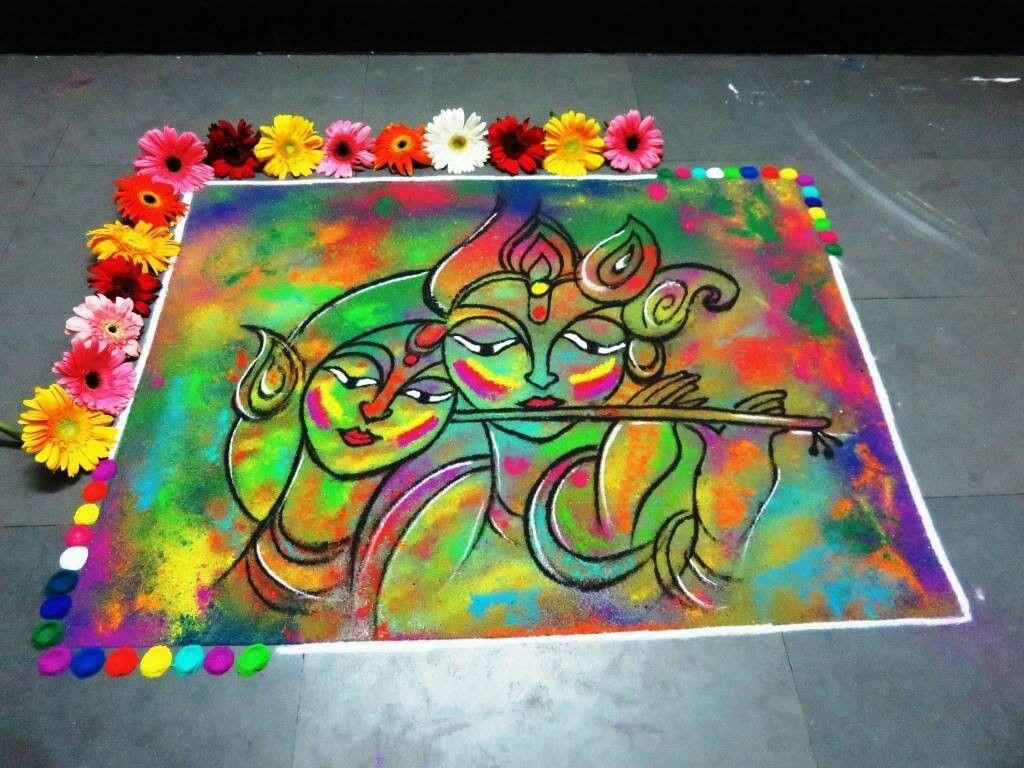 6 krishna jayanthi rangoli design krishna radha by nidhi sharma