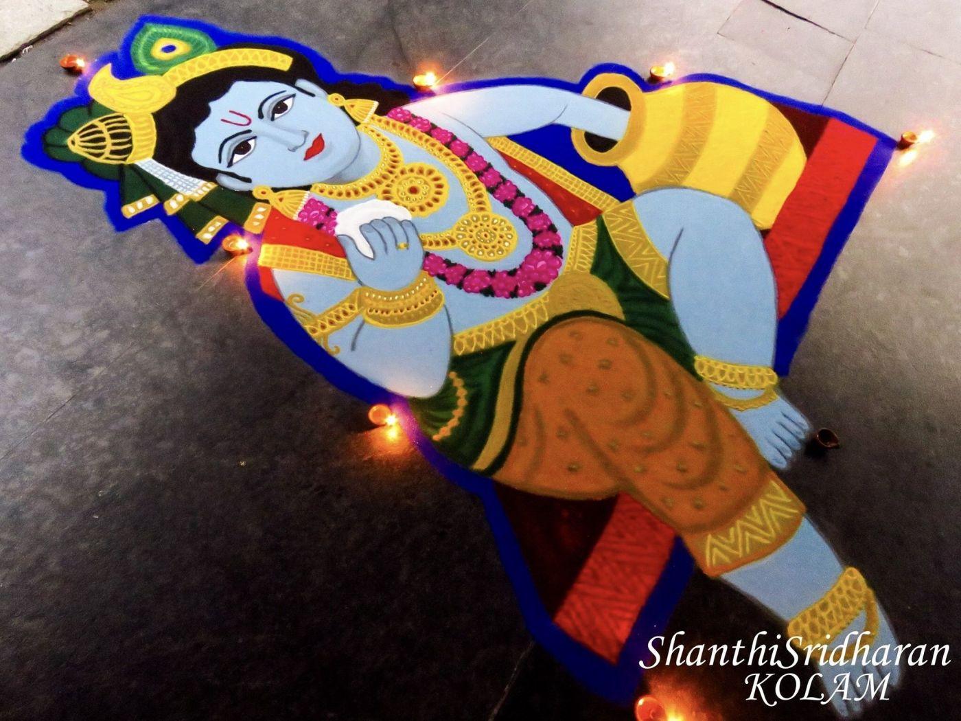 8 krishna jayanthi rangoli design butter pot krishna by shanthisridharan