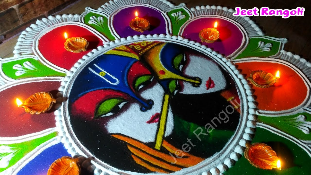9 janmashtami rangoli design lovely krishna radha by jeet