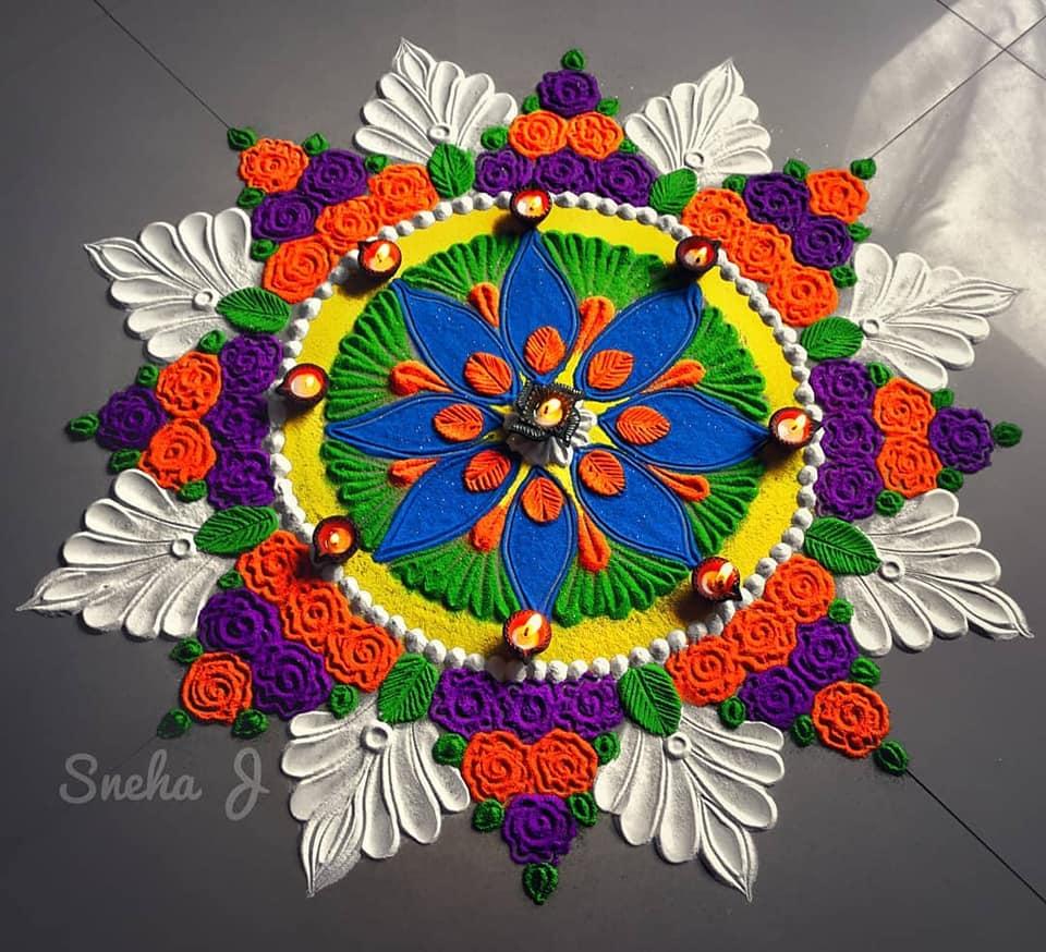 colorful rangoli design festival by sneha