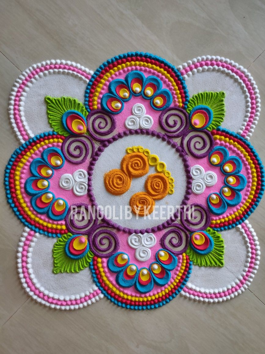 flower kolam rangoli design by keerthi