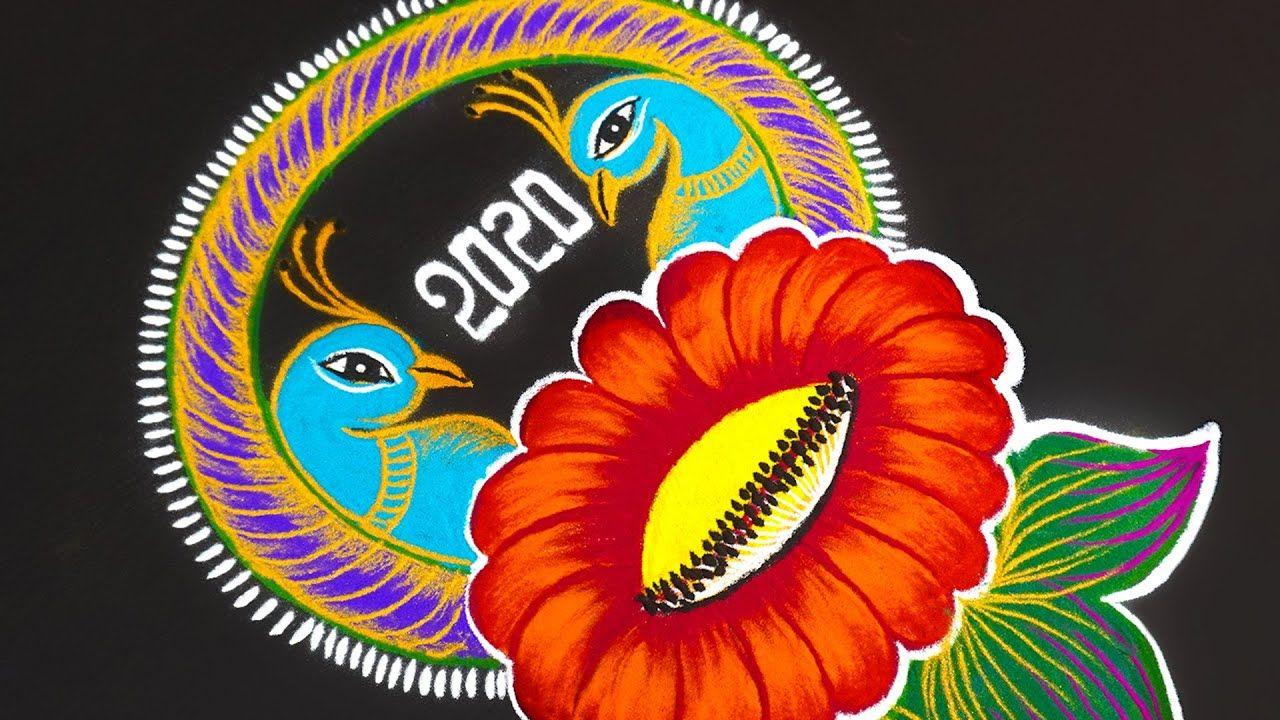 freehand rangoli design peacocks flower