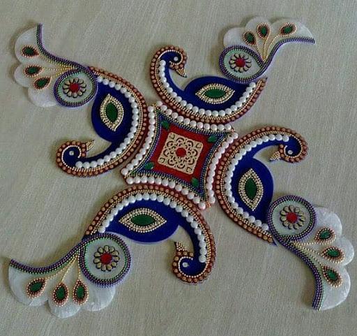 kundan rangoli design peacock bird