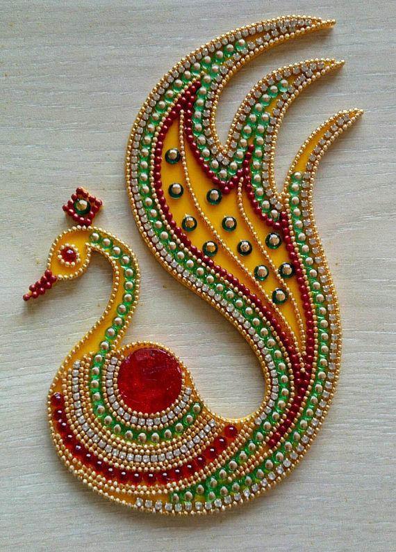 kundan rangoli design peacock