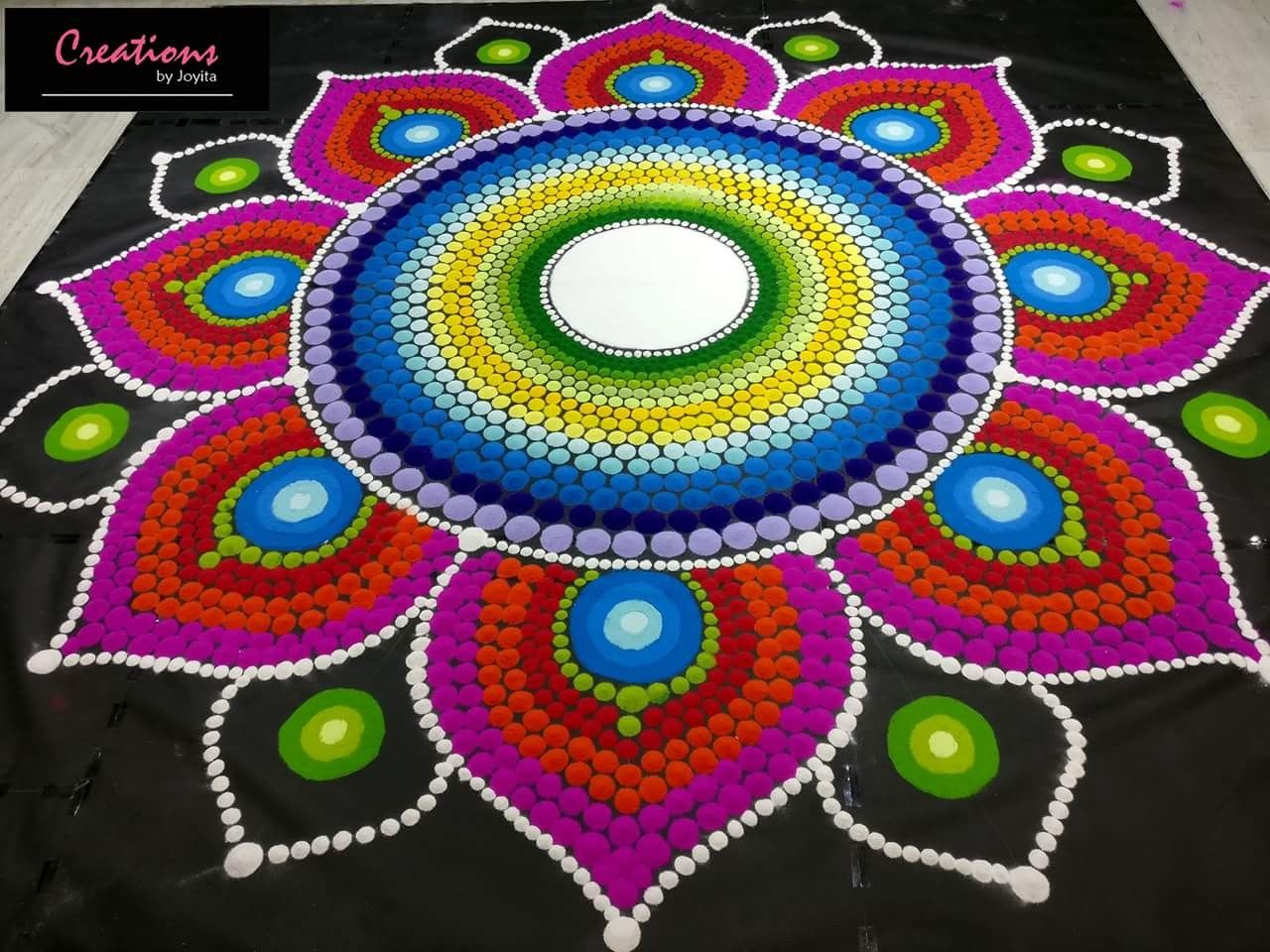 mandala rangoli design flower by joyita