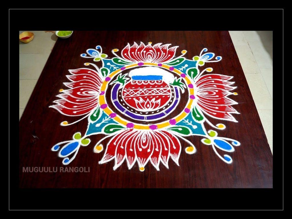muggulu rangoli design flowers pot pongal