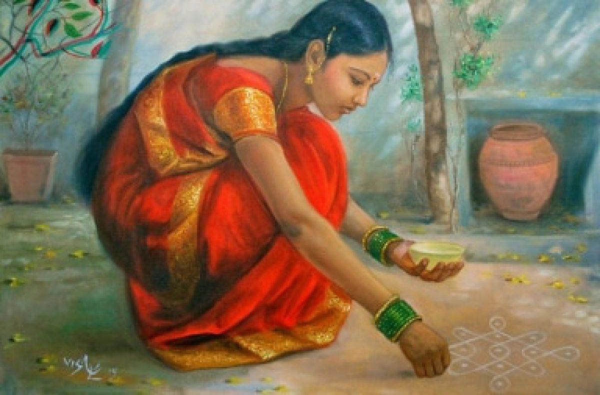 painting girl make rangoli art infront her home