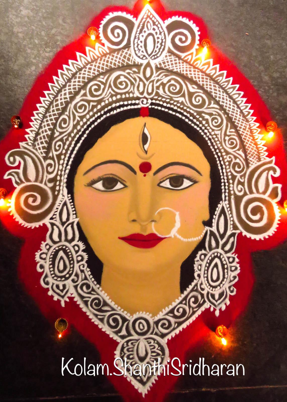 portrait rangoli design devi goddess by shanthi sridharan