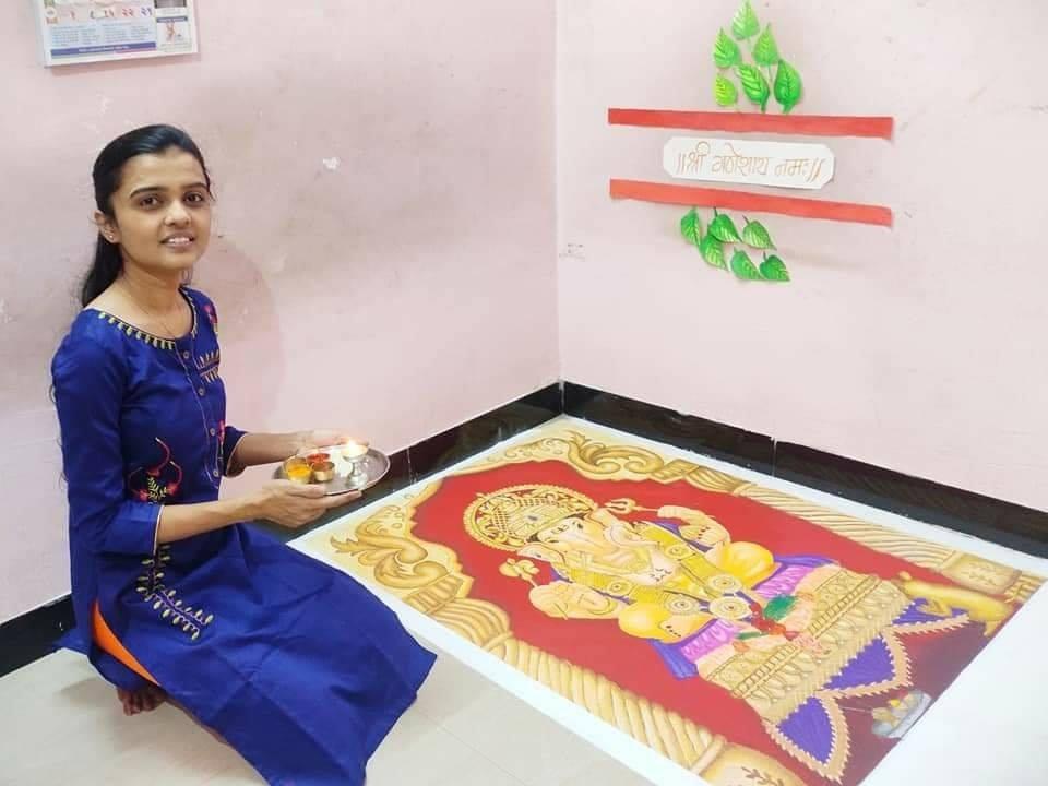 portrait rangoli design ganesh by pradnya satpute