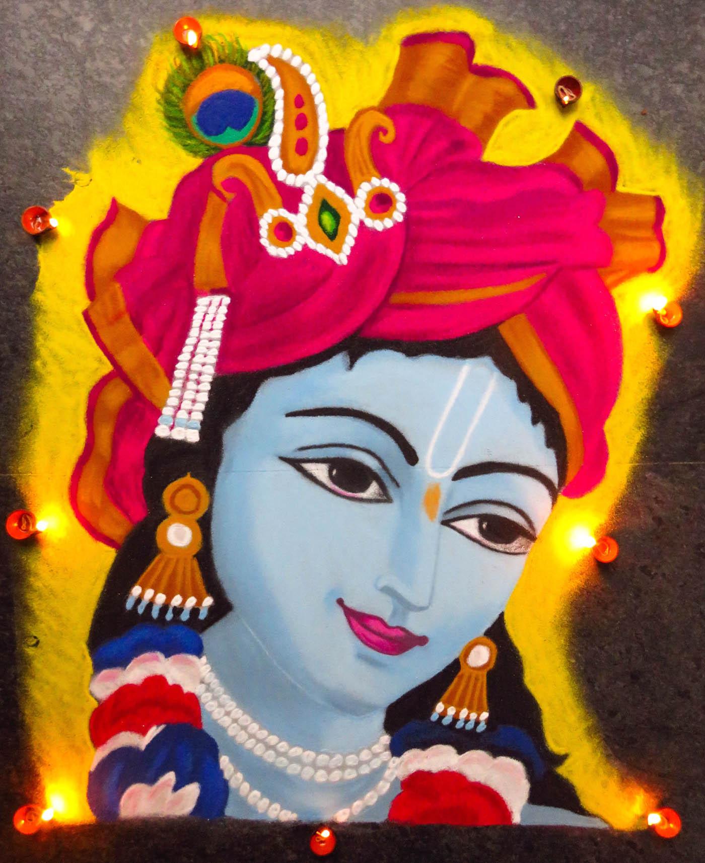 portrait rangoli design krishna