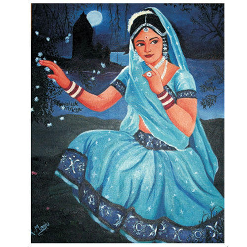 portrait rangoli design woman blue saree by manju
