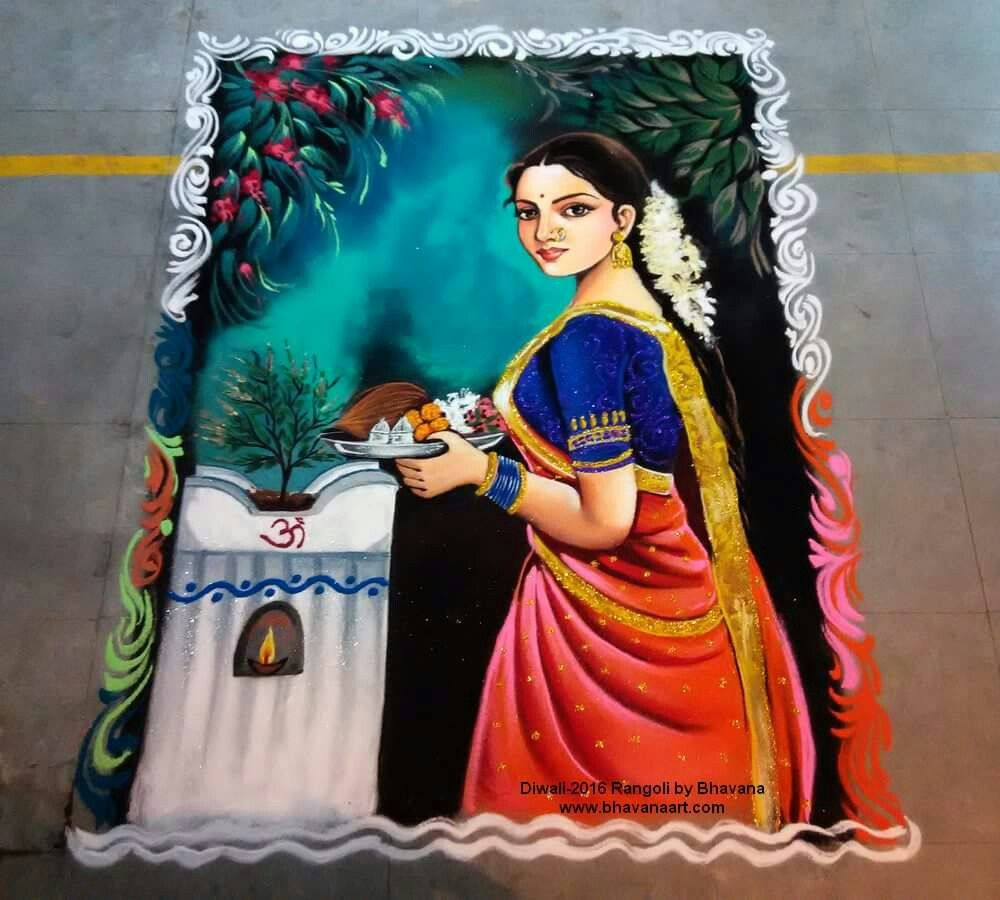 portrait rangoli design woman offering pooja by bhavana