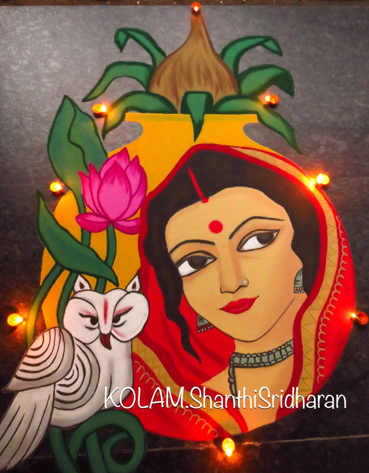 portrait rangoli design woman owl