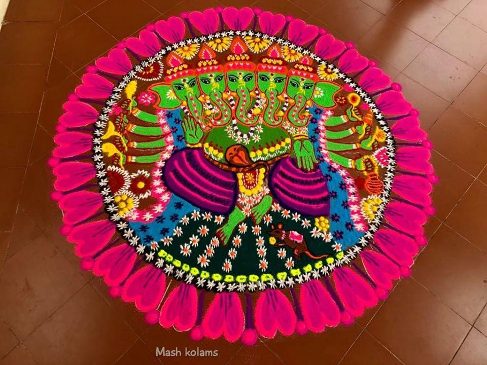 rangoli design mandala ganesha by masheswari mash