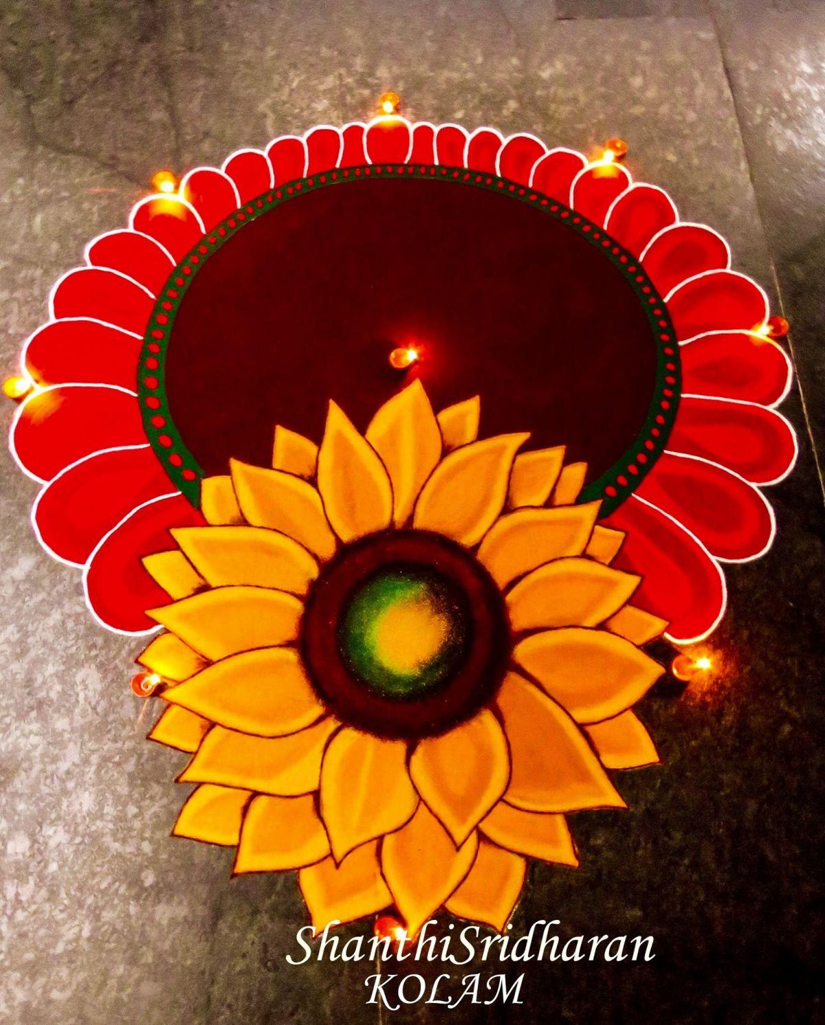 rangoli design sunflower