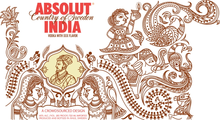 rangoli design in packaging of vodka by yogi designs