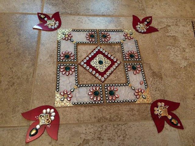 simple acrylic rangoli design