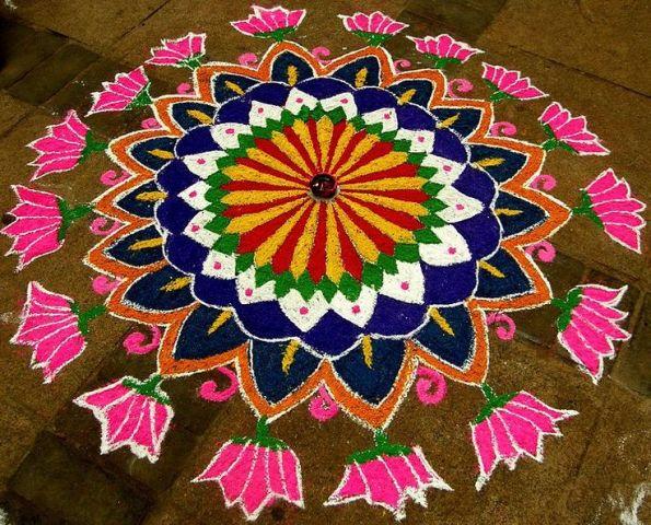 beautiful lotus freehand rangoli design