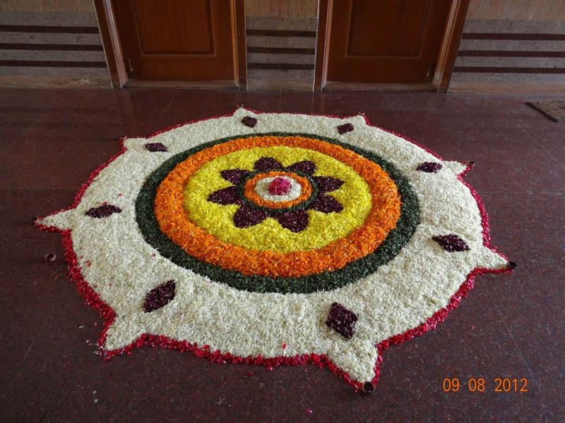 attractive pookalam rangoli design