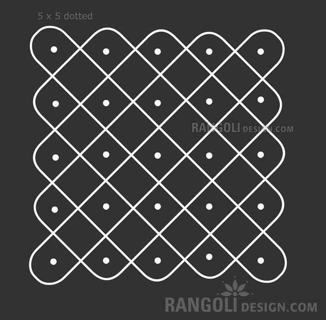 5x5 dotted rangoli kolam