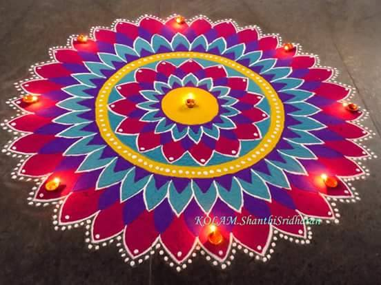 colorful rangoli design by shanthi sridharan