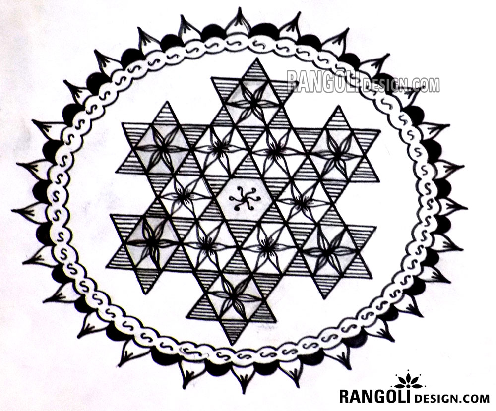 flower with star rangoli design indu