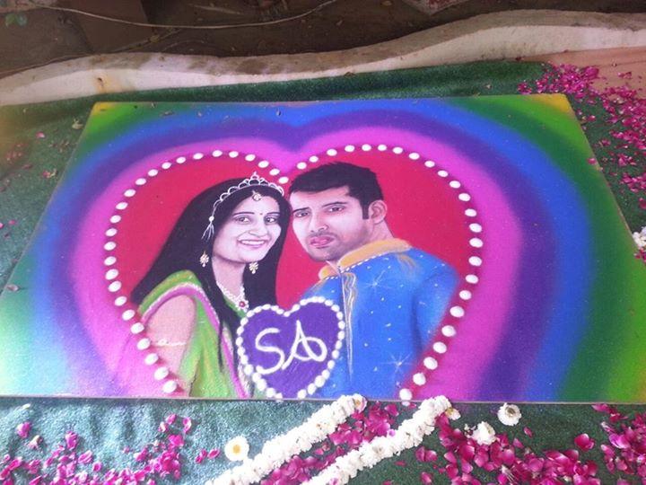 wedding portrait rangoli by aakruti