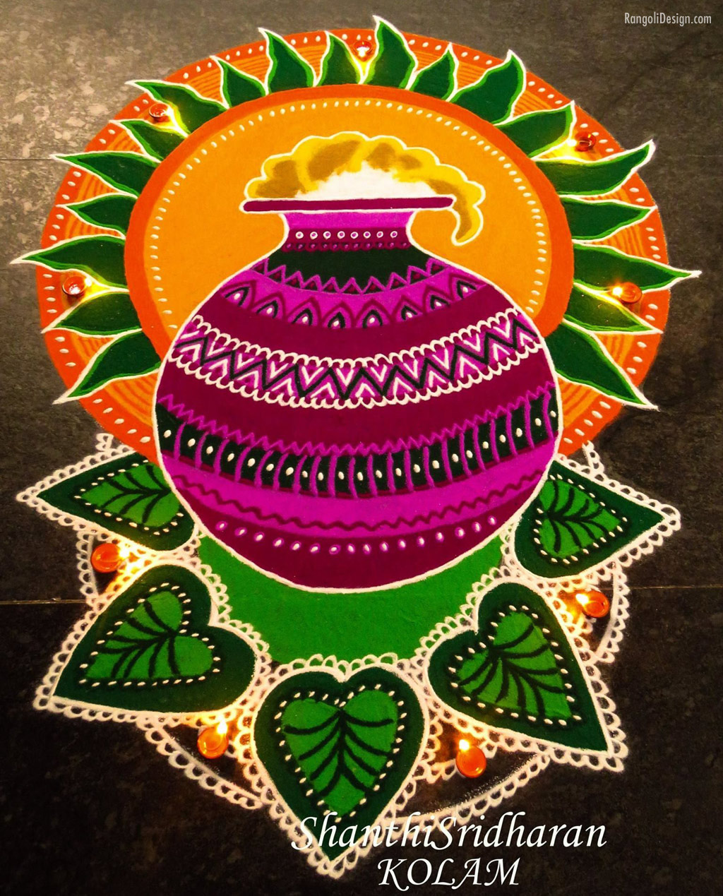 3 pongal rangoli design by shanti sridharan